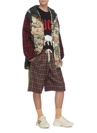 Figure View - Click To Enlarge - GUCCI - 'Eco' print check plaid panelled parka