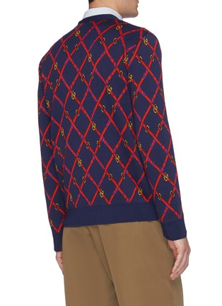 Back View - Click To Enlarge - GUCCI - GG checkerboard belt jacquard cardigan