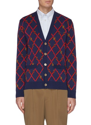 Main View - Click To Enlarge - GUCCI - GG checkerboard belt jacquard cardigan