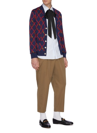 Figure View - Click To Enlarge - GUCCI - GG checkerboard belt jacquard cardigan