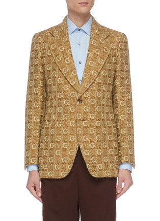 Main View - Click To Enlarge - GUCCI - 'GG' logo embroidered knit blazer