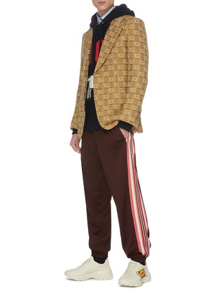Figure View - Click To Enlarge - GUCCI - 'GG' logo embroidered knit blazer