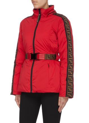 Detail View - Click To Enlarge - FENDI SPORT - 'Fendirama' belted logo stripe sleeve reversible ski jacket