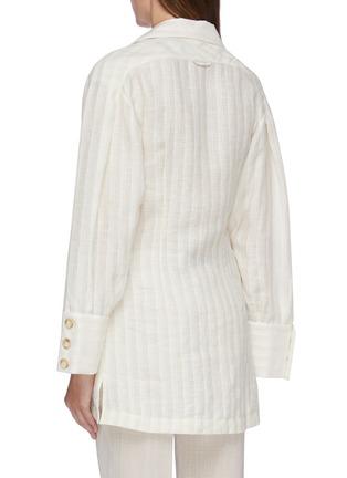 Back View - Click To Enlarge - JACQUEMUS - 'La chemise Roman' flap pocket stripe linen shirt