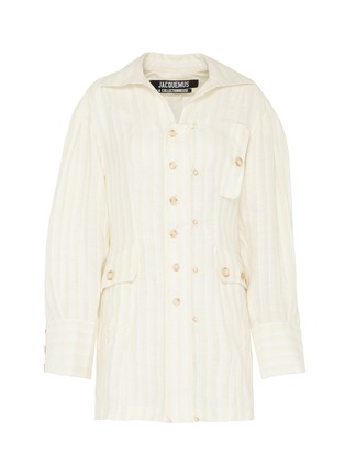 Main View - Click To Enlarge - JACQUEMUS - 'La chemise Roman' flap pocket stripe linen shirt