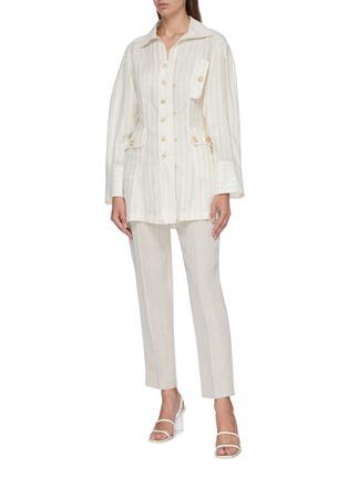 Figure View - Click To Enlarge - JACQUEMUS - 'La chemise Roman' flap pocket stripe linen shirt