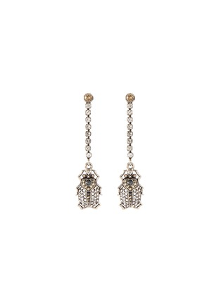Main View - Click To Enlarge - ALEXANDER MCQUEEN - Swarovski crystal pavé beetle single drop earring