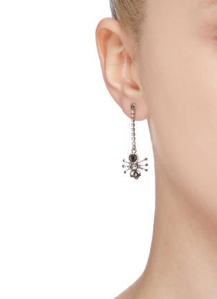 Figure View - Click To Enlarge - ALEXANDER MCQUEEN - Swarovski crystal pavé spider single drop earring