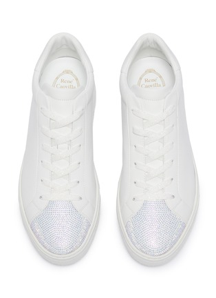 Detail View - Click To Enlarge - RENÉ CAOVILLA - Strass embellished lambskin leather sneakers