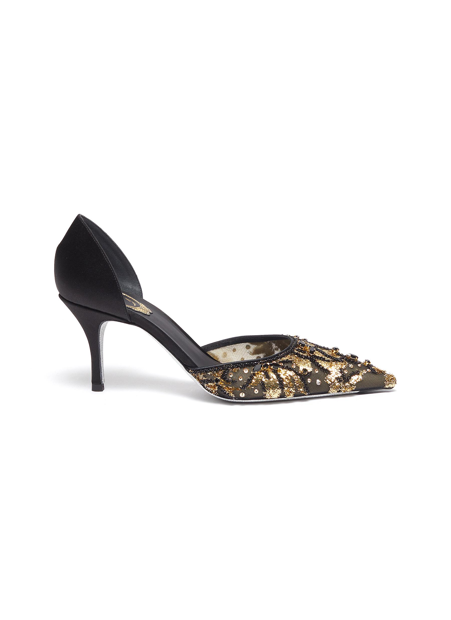 Embellished satin dOrsay pumps by René Caovilla