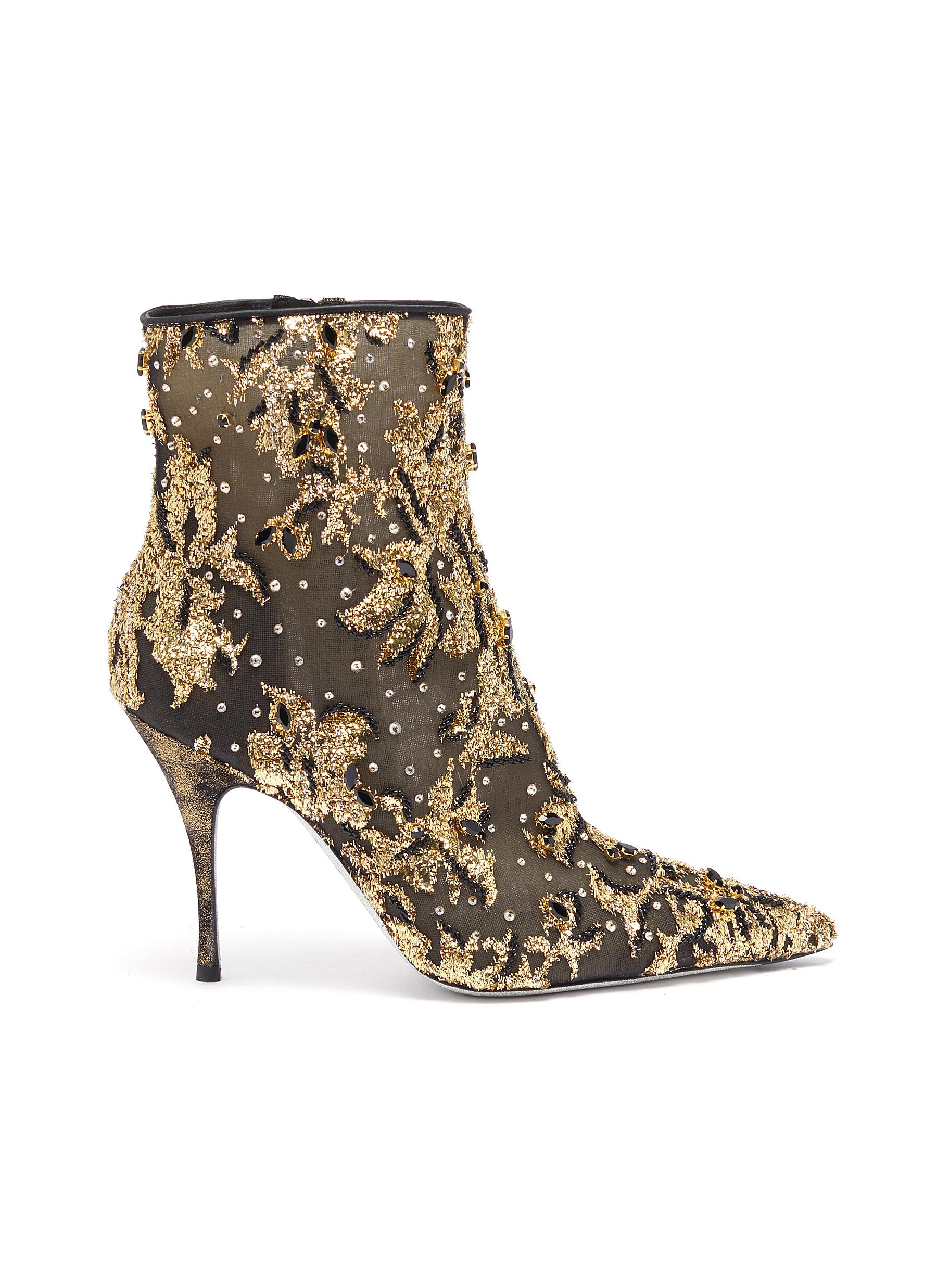 Lurexa embellished tulle ankle boots by René Caovilla