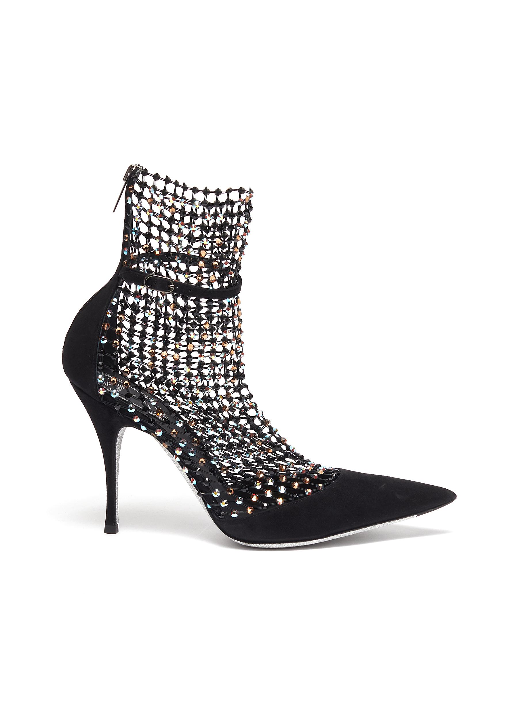René Caovilla High Heels Strass fishnet overlay suede pumps