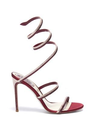 Main View - Click To Enlarge - RENÉ CAOVILLA - 'Cleo' strass coil anklet satin sandals