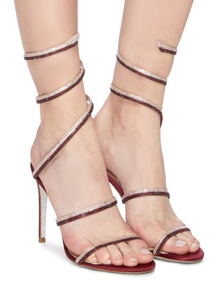 Figure View - Click To Enlarge - RENÉ CAOVILLA - 'Cleo' strass coil anklet satin sandals
