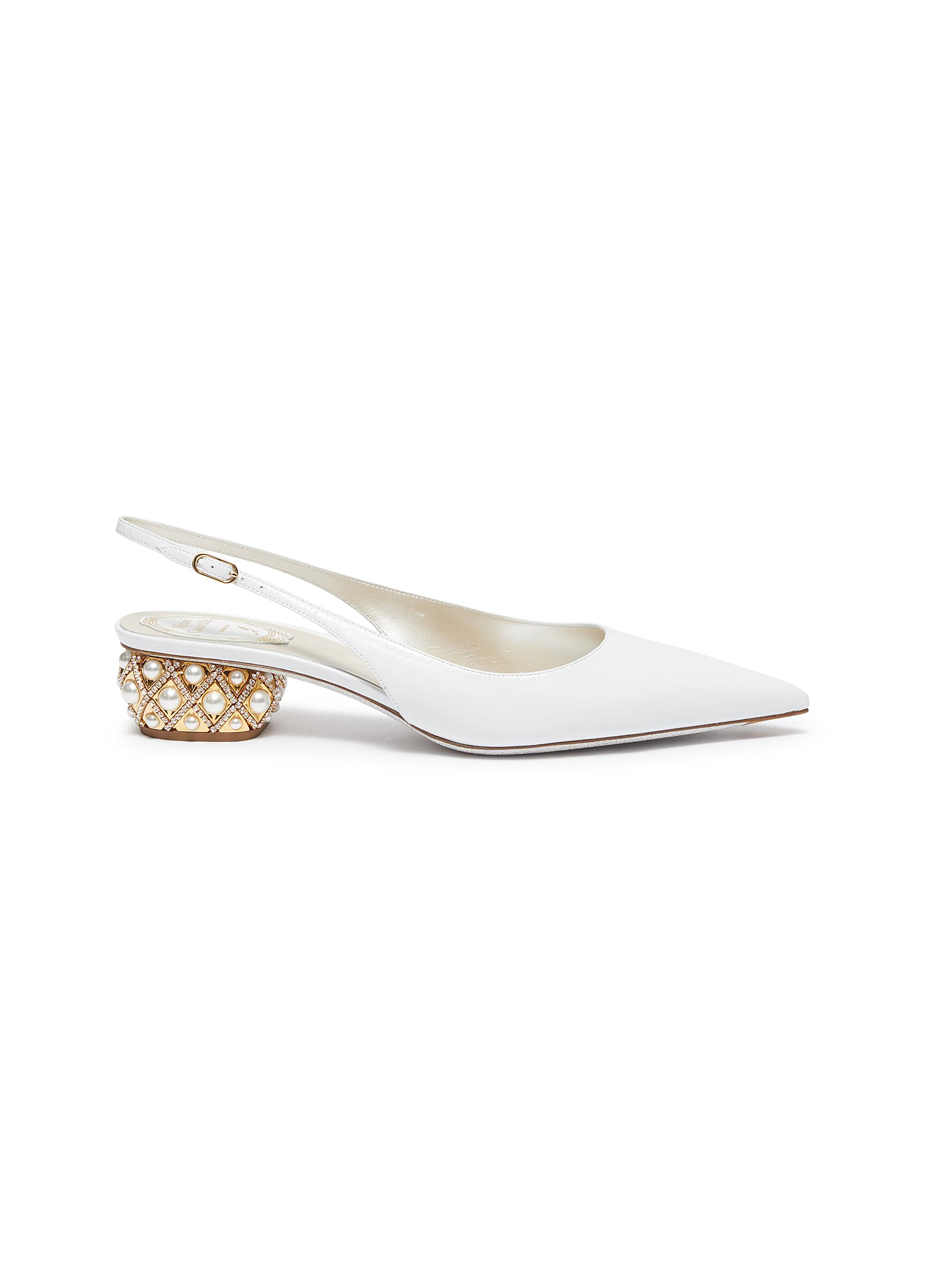 Embellished heel leather slingback pumps by René Caovilla