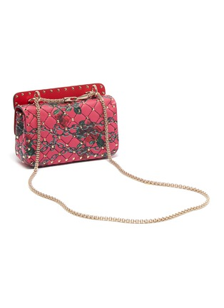 Detail View - Click To Enlarge - VALENTINO - 'Rockstud Spike' rose print small quilted leather shoulder bag