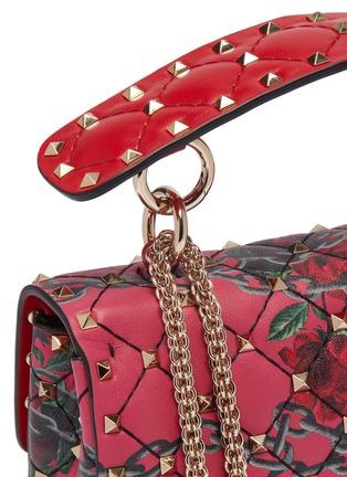 - VALENTINO - Valentino Garavani 'Rockstud Spike' rose print small quilted leather shoulder bag