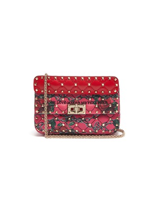 Main View - Click To Enlarge - VALENTINO - 'Rockstud Spike' rose print small quilted leather shoulder bag