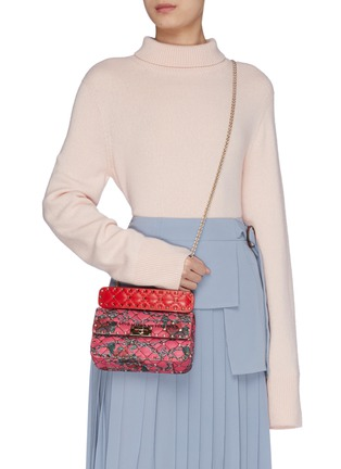 Figure View - Click To Enlarge - VALENTINO - 'Rockstud Spike' rose print small quilted leather shoulder bag