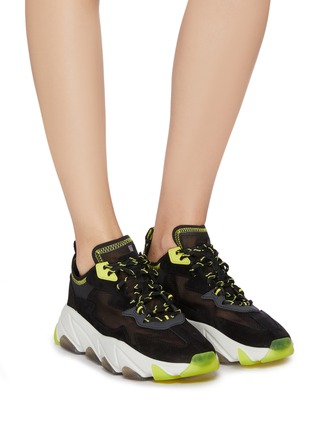 Figure View - Click To Enlarge - ASH - 'Eclipse Bis' chunky outsole suede panel ripstop sneakers
