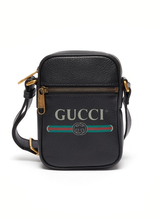 Main View - Click To Enlarge - GUCCI - Logo print leather shoulder bag