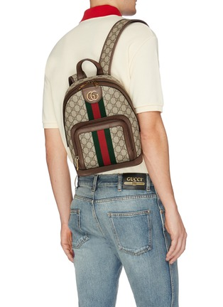 Figure View - Click To Enlarge - GUCCI - 'Ophidia' Web stripe GG Supreme canvas backpack