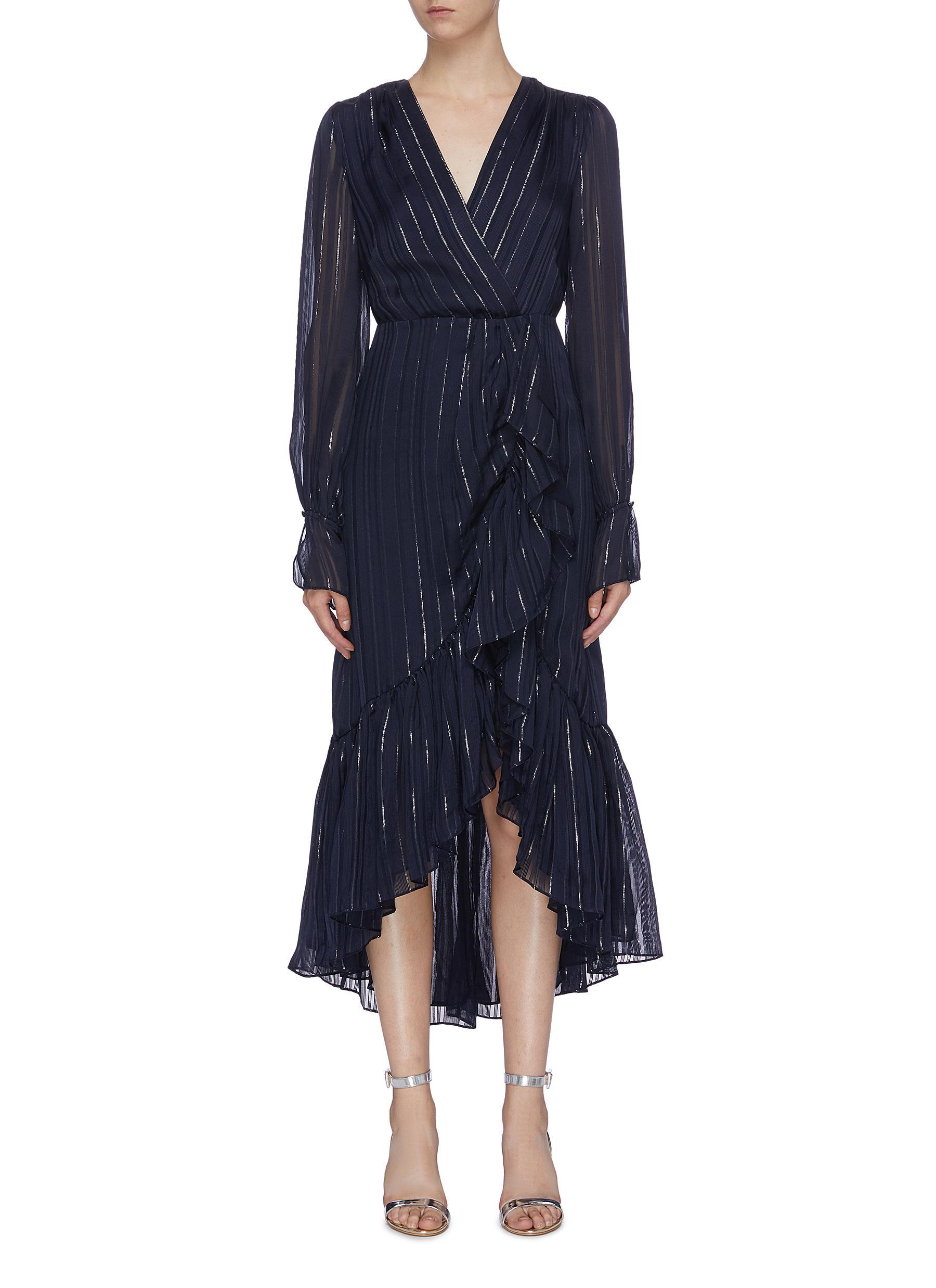 Ruffle metallic stripe chiffon mock wrap dress by Jonathan Simkhai