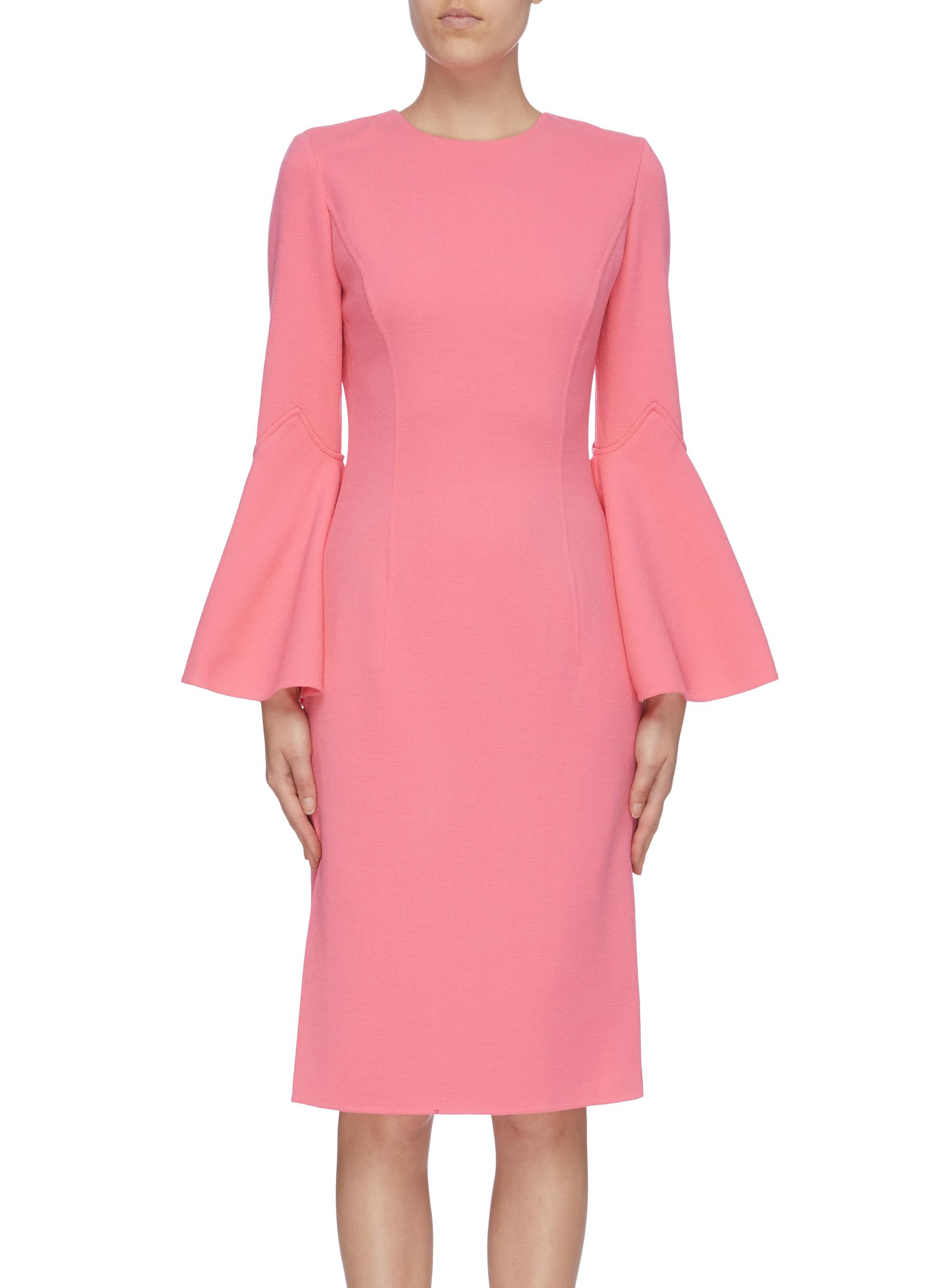 Flared sleeve dress by Oscar De La Renta