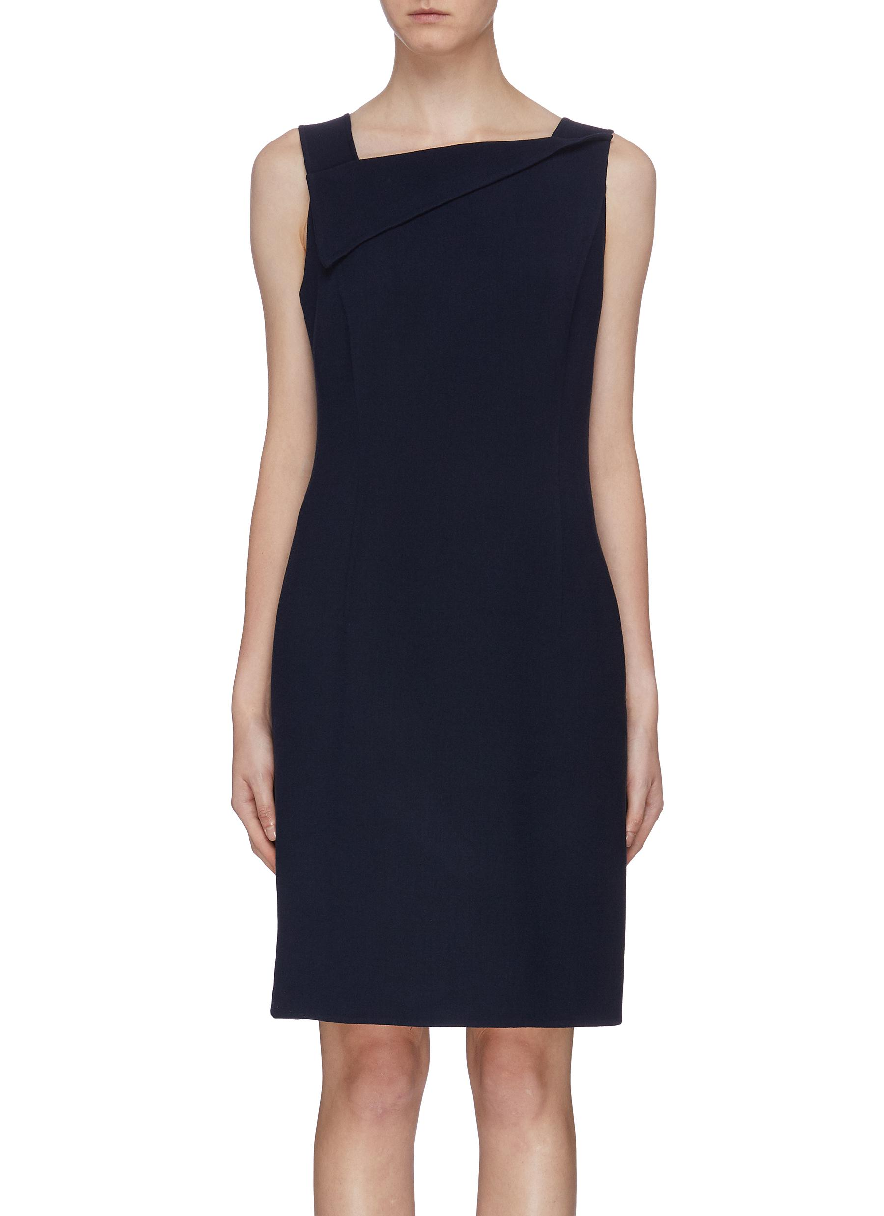 Folded collar sleeveless dress by Oscar De La Renta