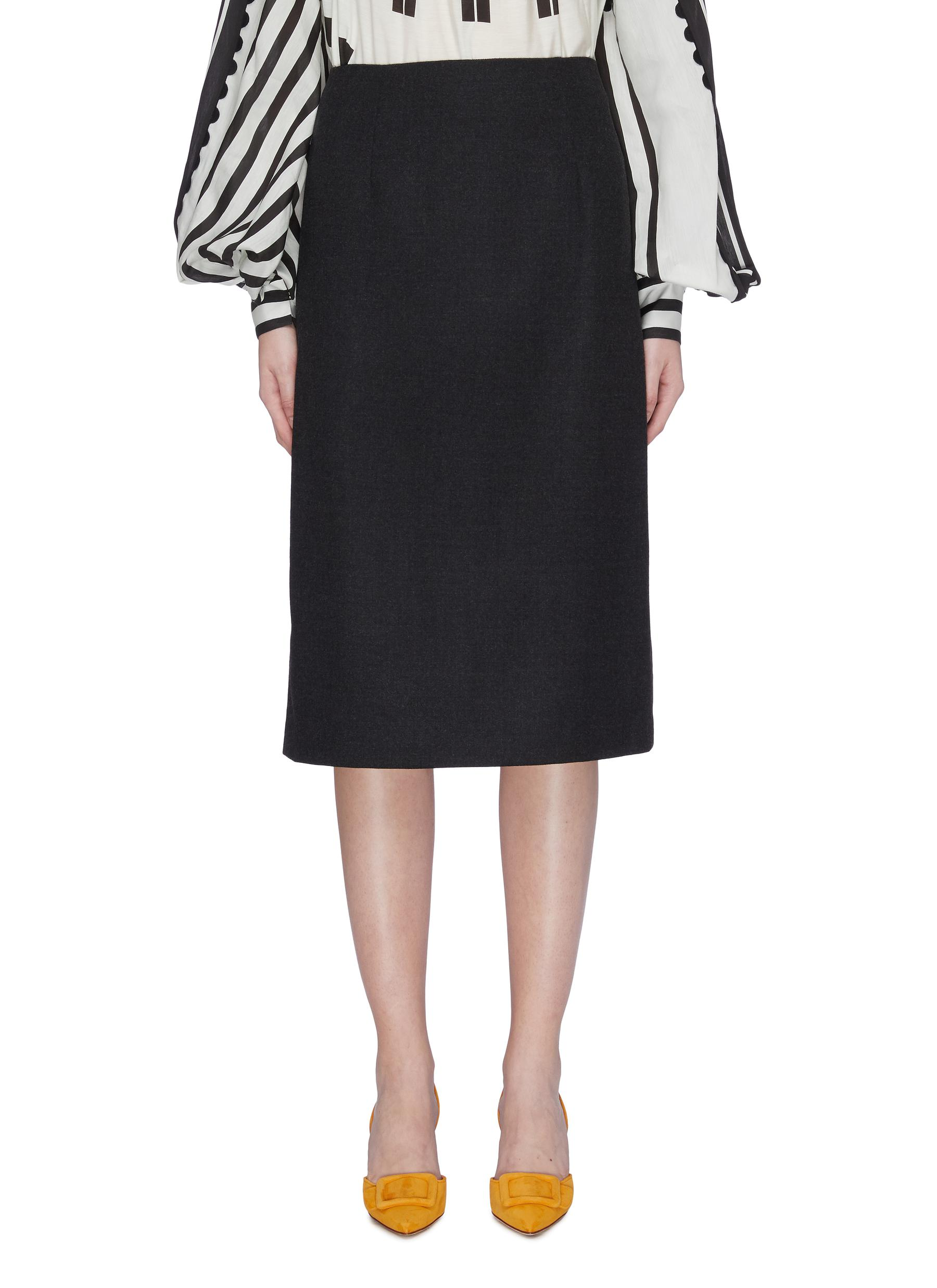 Wool pencil skirt by Oscar De La Renta