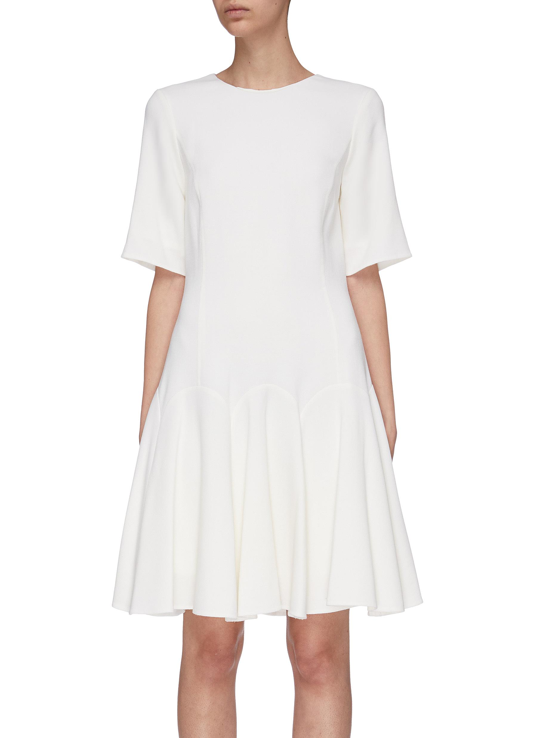 Ruffle hem crepe dress by Oscar De La Renta