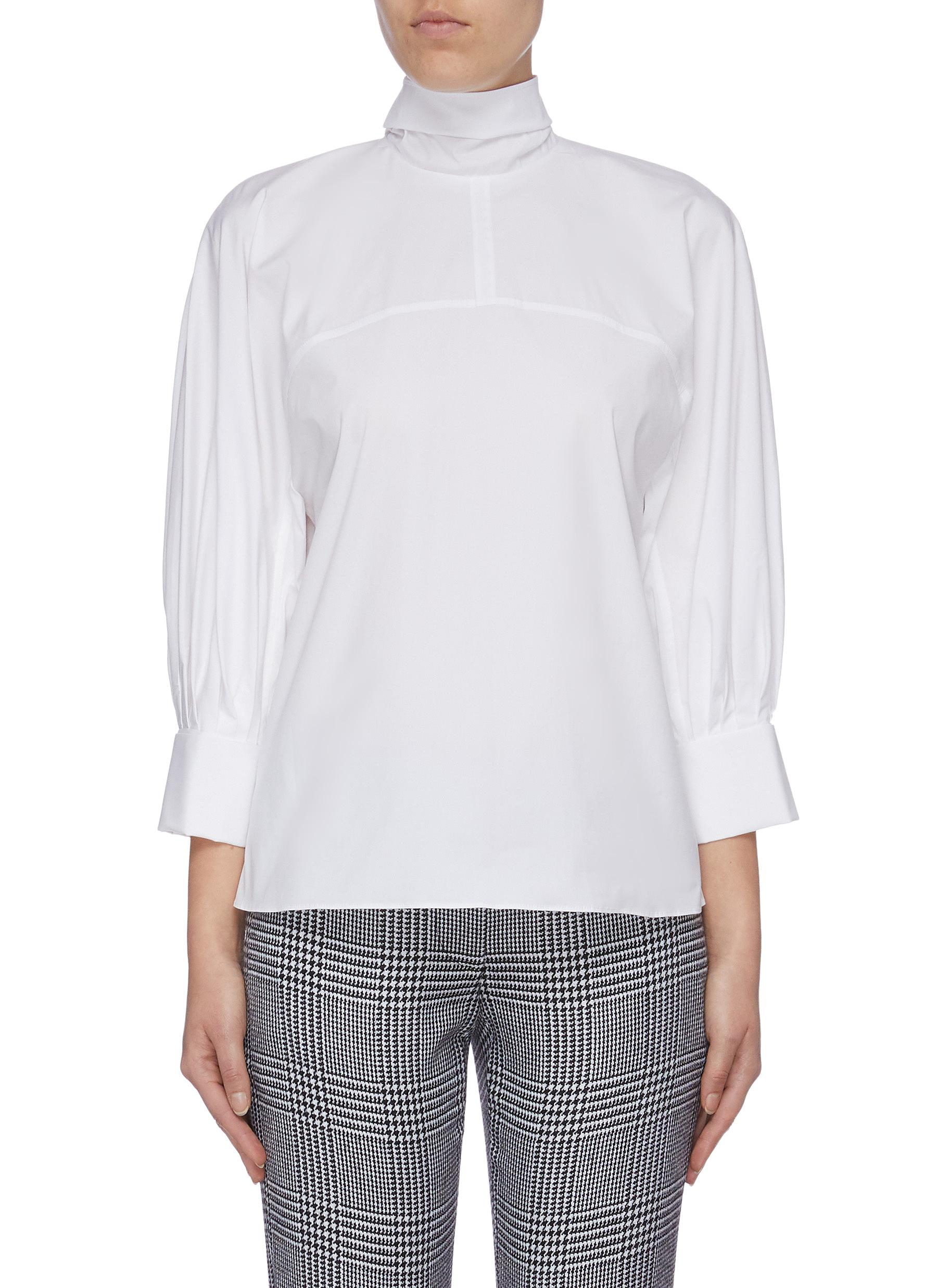 Sash tie neck balloon sleeve blouse by Oscar De La Renta