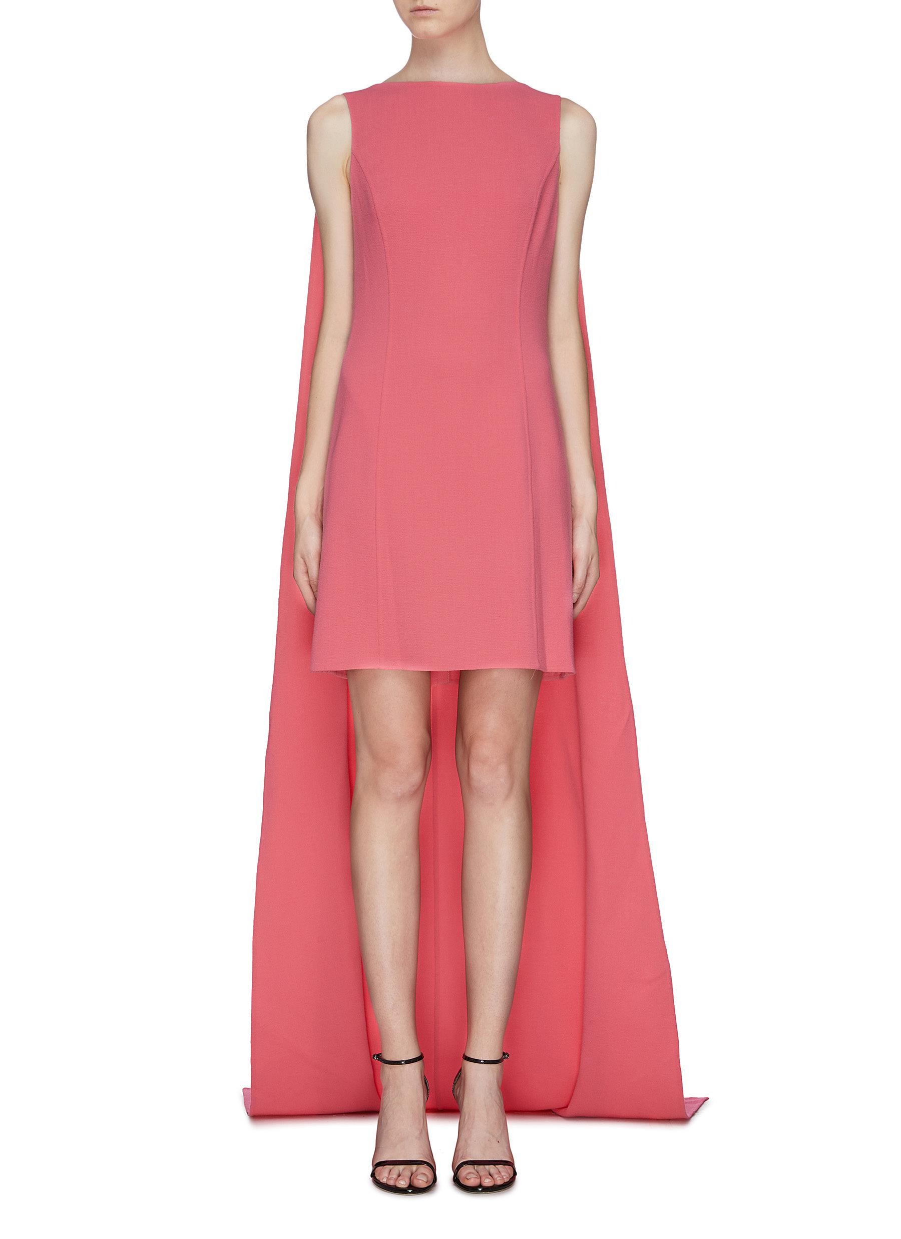 Sleeveless cape dress by Oscar De La Renta