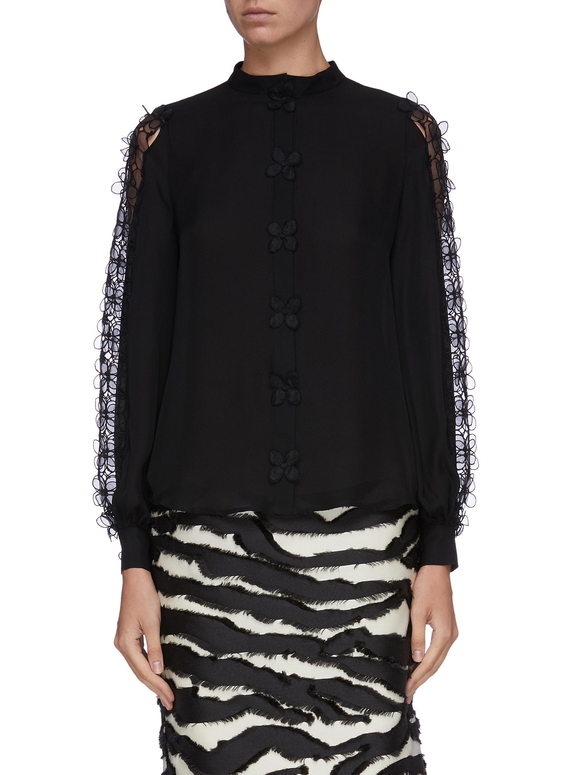Floral appliqué sleeve silk georgette blouse by Oscar De La Renta
