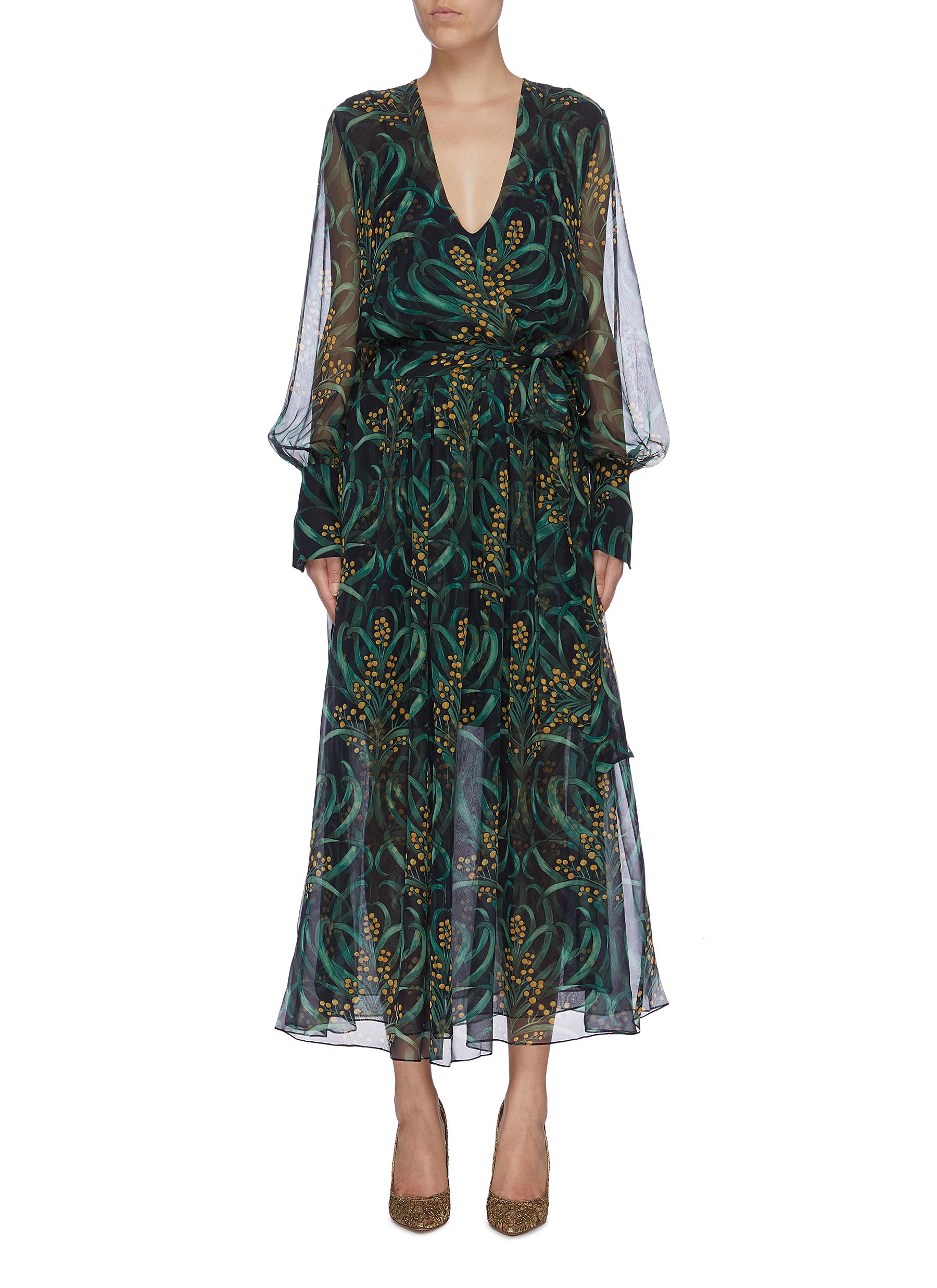 Leaf print silk chiffon dress by Oscar De La Renta