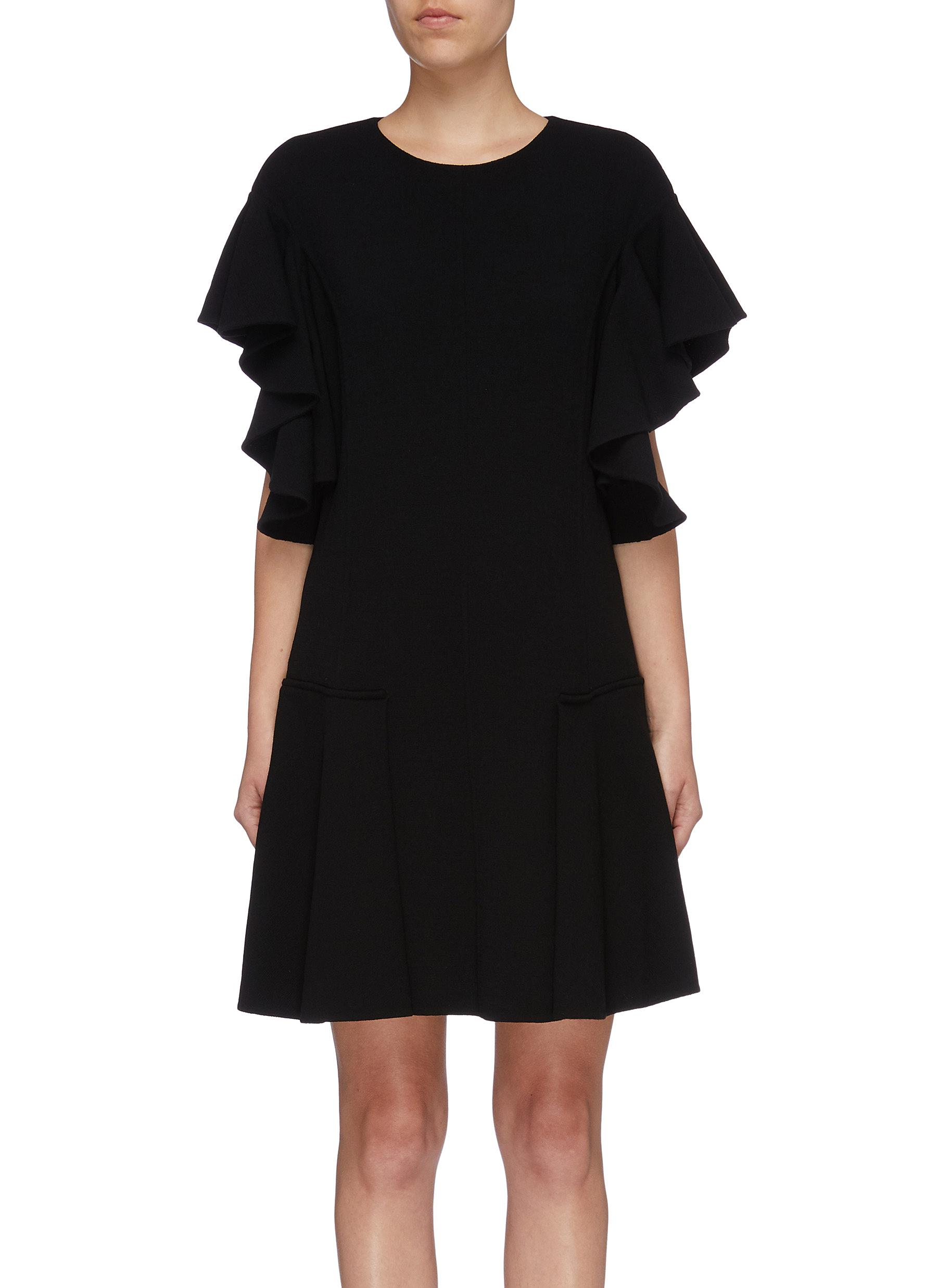 Ruffle sleeve pleated virgin wool blend knit dress by Oscar De La Renta