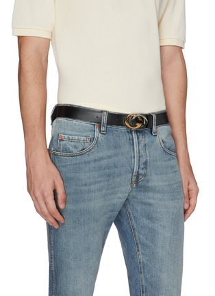 Figure View - Click To Enlarge - GUCCI - GG logo buckle leather belt