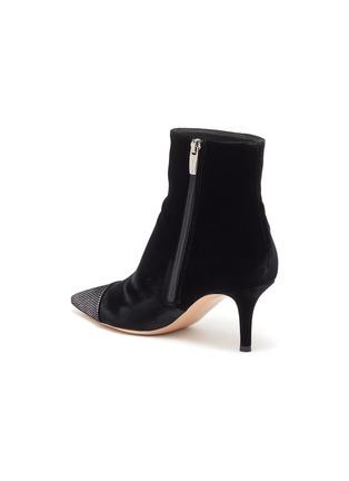 - GIANVITO ROSSI - 'Velluto' Strass embellished toecap velvet ankle boots