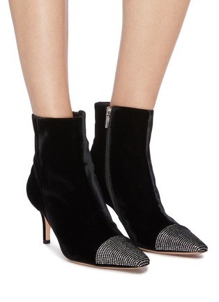 Figure View - Click To Enlarge - GIANVITO ROSSI - 'Velluto' Strass embellished toecap velvet ankle boots