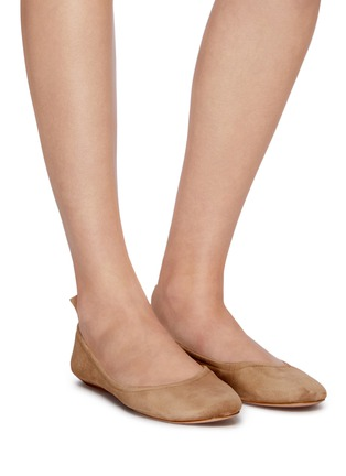 Figure View - Click To Enlarge - GIANVITO ROSSI - 'Audrey' suede ballerina flats