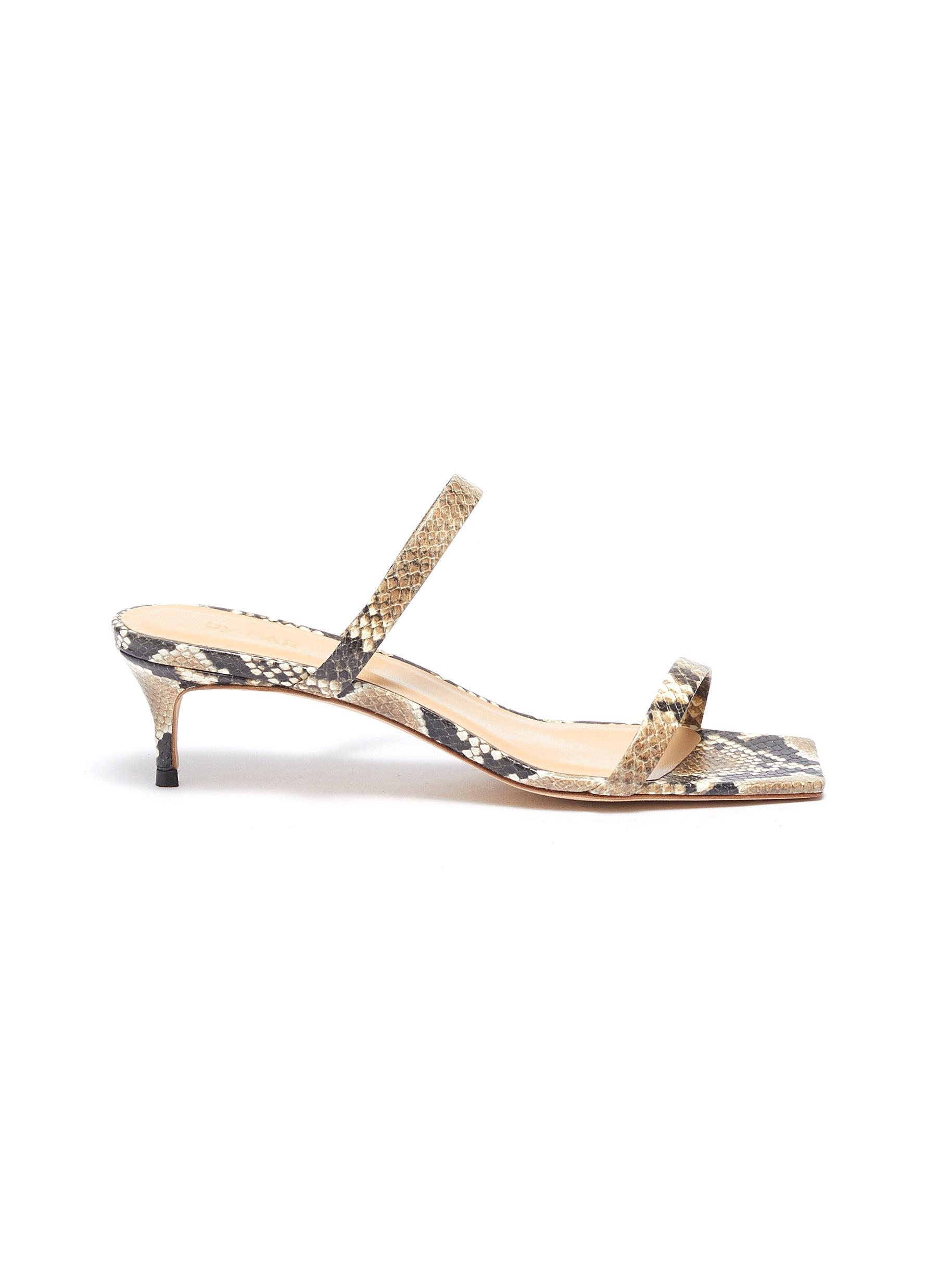 Thalia snake embossed leather sandals by By Far