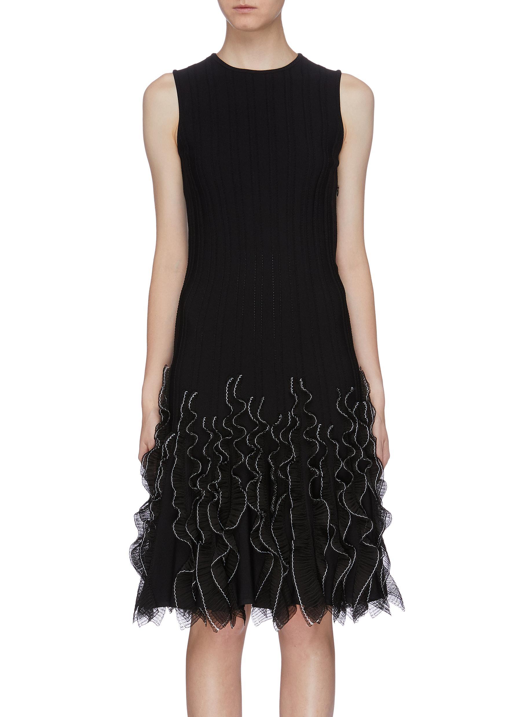 Ruffle mesh overlay hem dress by Alexander Mcqueen
