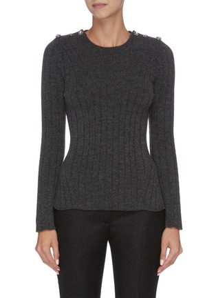 Main View - Click To Enlarge - ALEXANDER MCQUEEN - Embelished shoulder knit top