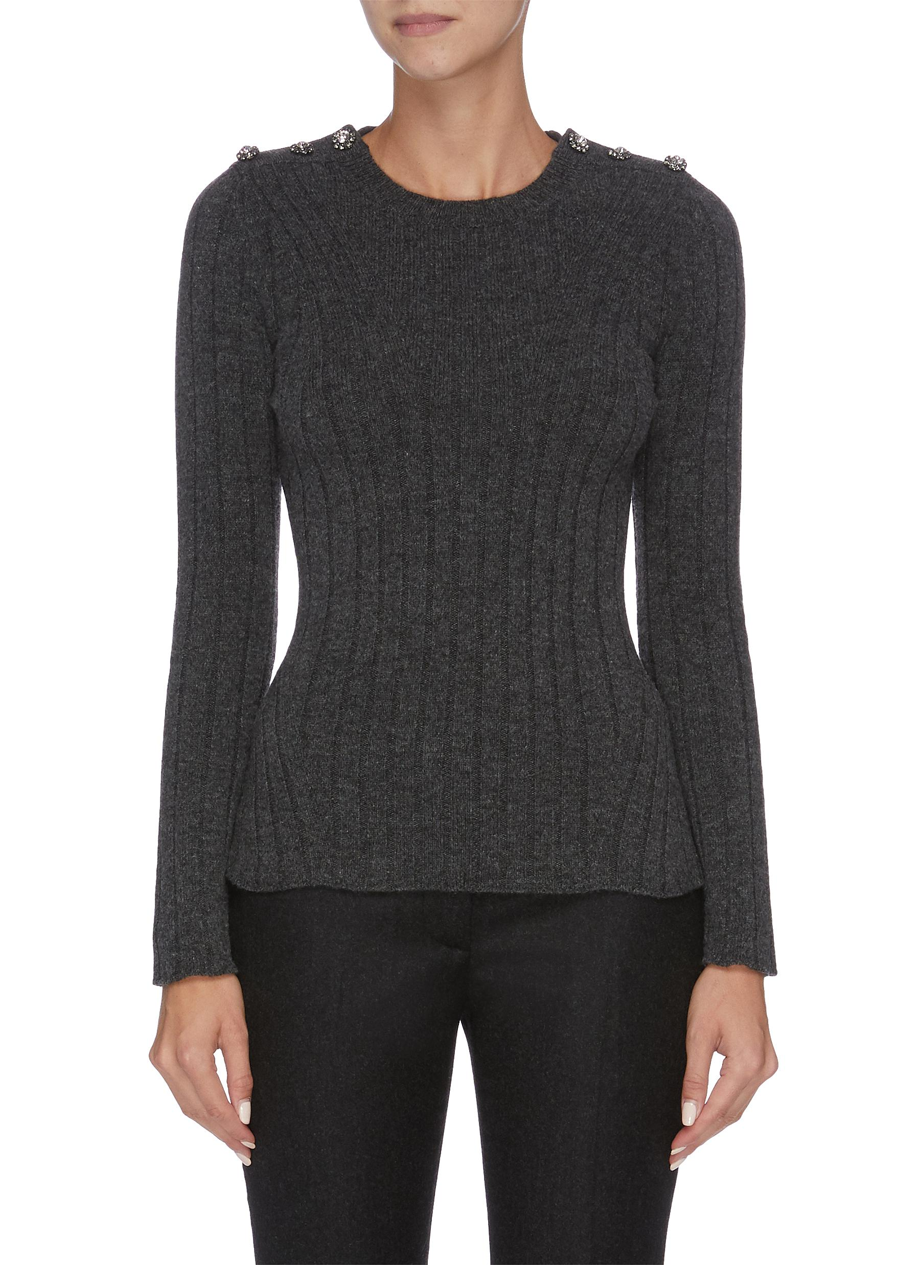 Embelished shoulder knit top by Alexander Mcqueen