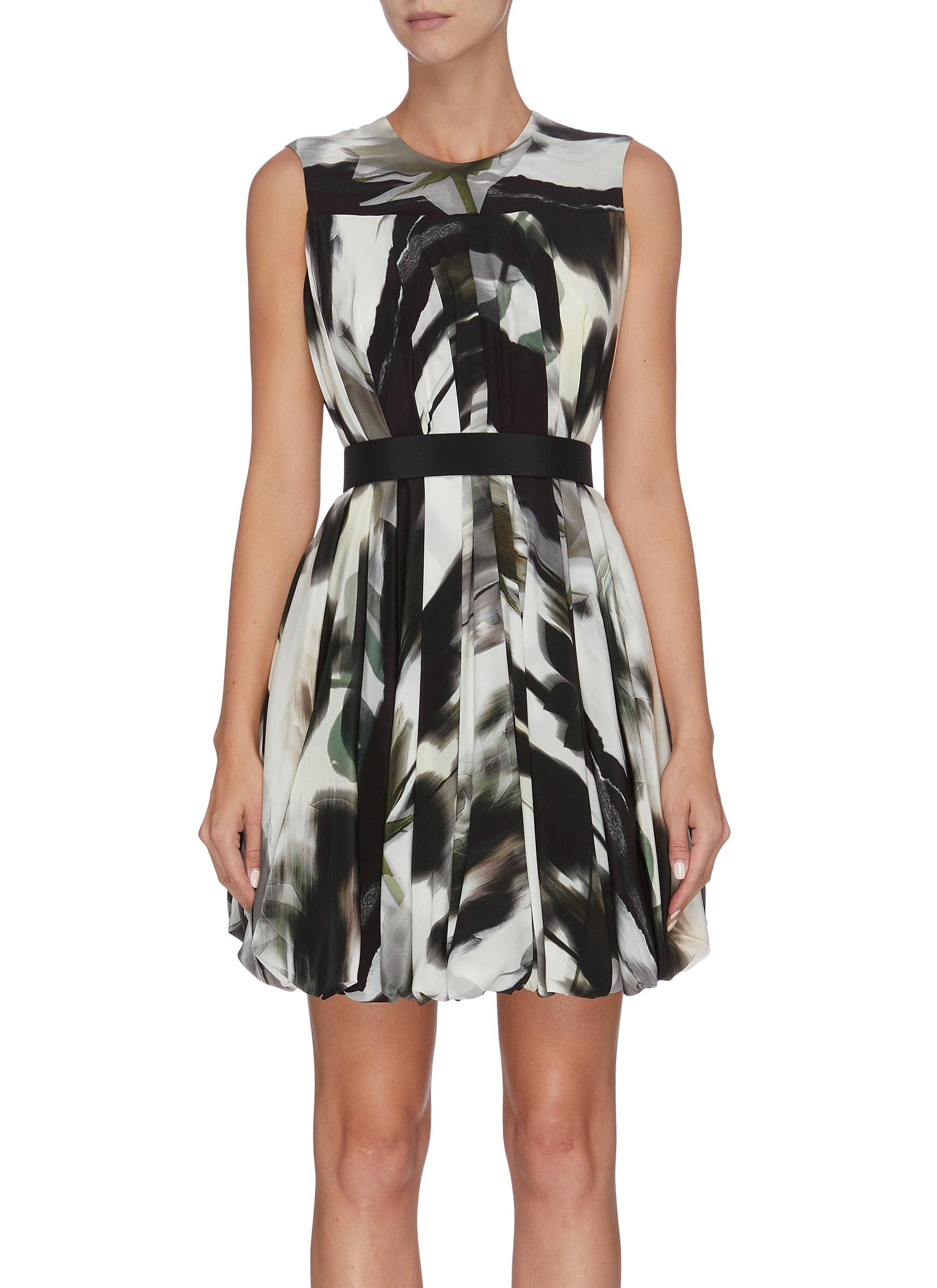 Belted graphic print pleated sleevless dress by Alexander Mcqueen