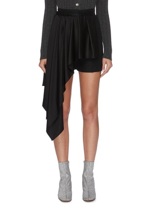 Main View - Click To Enlarge - ALEXANDER MCQUEEN - Asymmetric pleated drape shorts