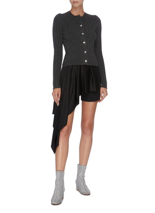 Figure View - Click To Enlarge - ALEXANDER MCQUEEN - Asymmetric pleated drape shorts