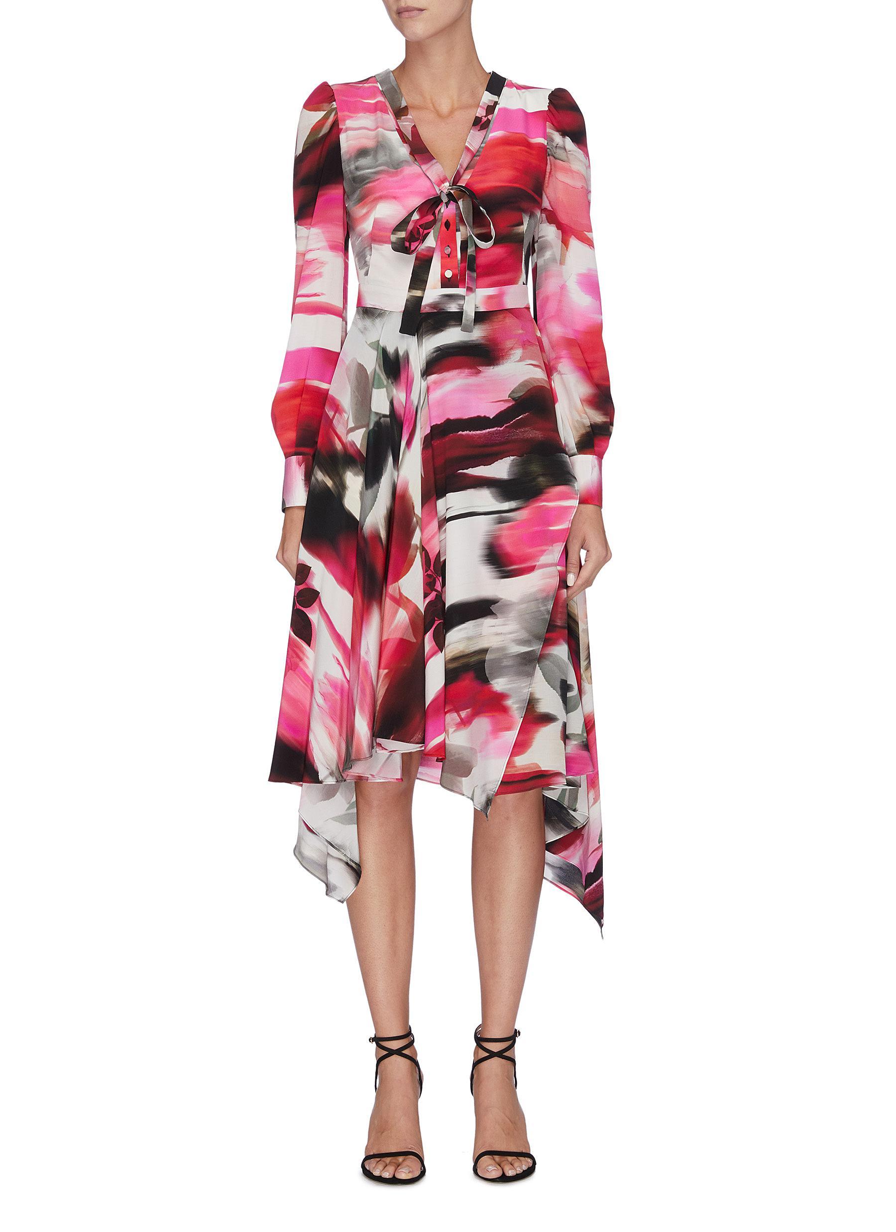 Sash neck tie rose print asymmetric silk dress by Alexander Mcqueen