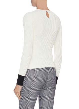 Back View - Click To Enlarge - ALEXANDER MCQUEEN - Rib knit contrast cuff top