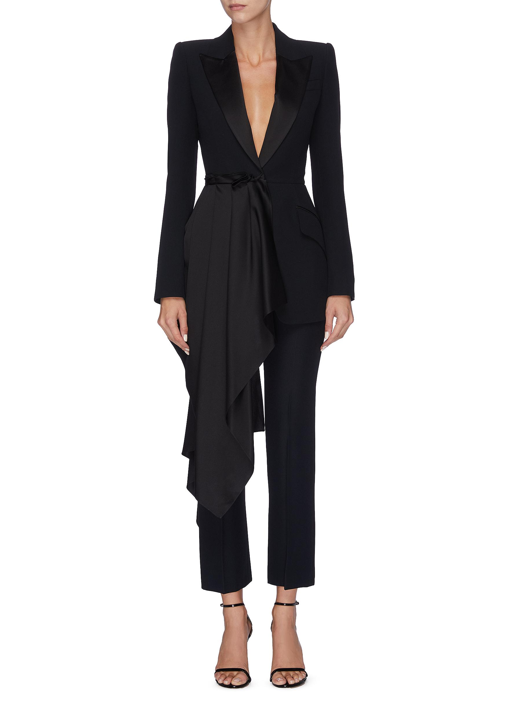 Drape panel double breasted satin blazer by Alexander Mcqueen